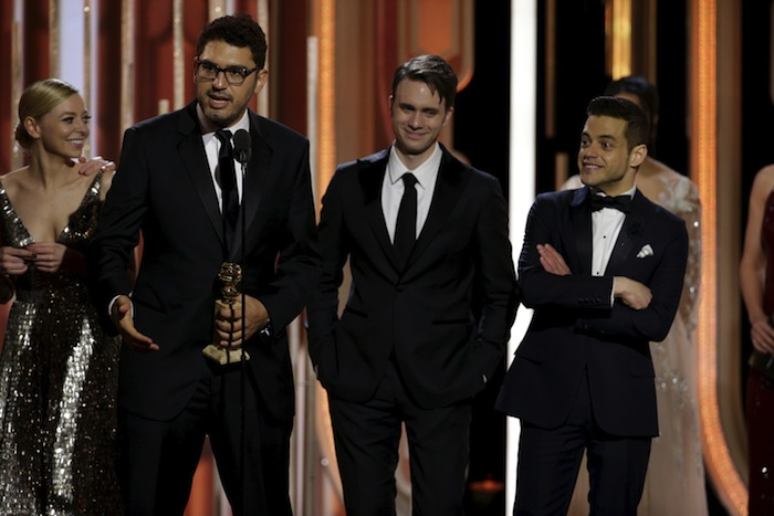 The Mr. Robot team delivering their winning speech after unexpectedly winning the Best Drama Series award.