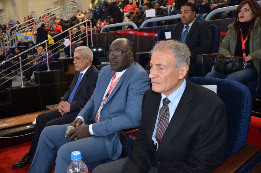 Hassan Mostafa, president of the International Handball Federation with IHF African Representative, Charles Omboumahou.
