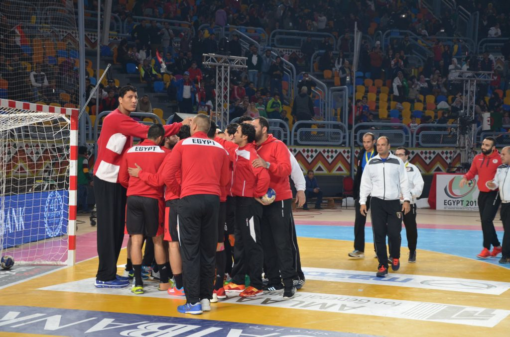 The Egyptian National Team huddling up before the opening whistle.