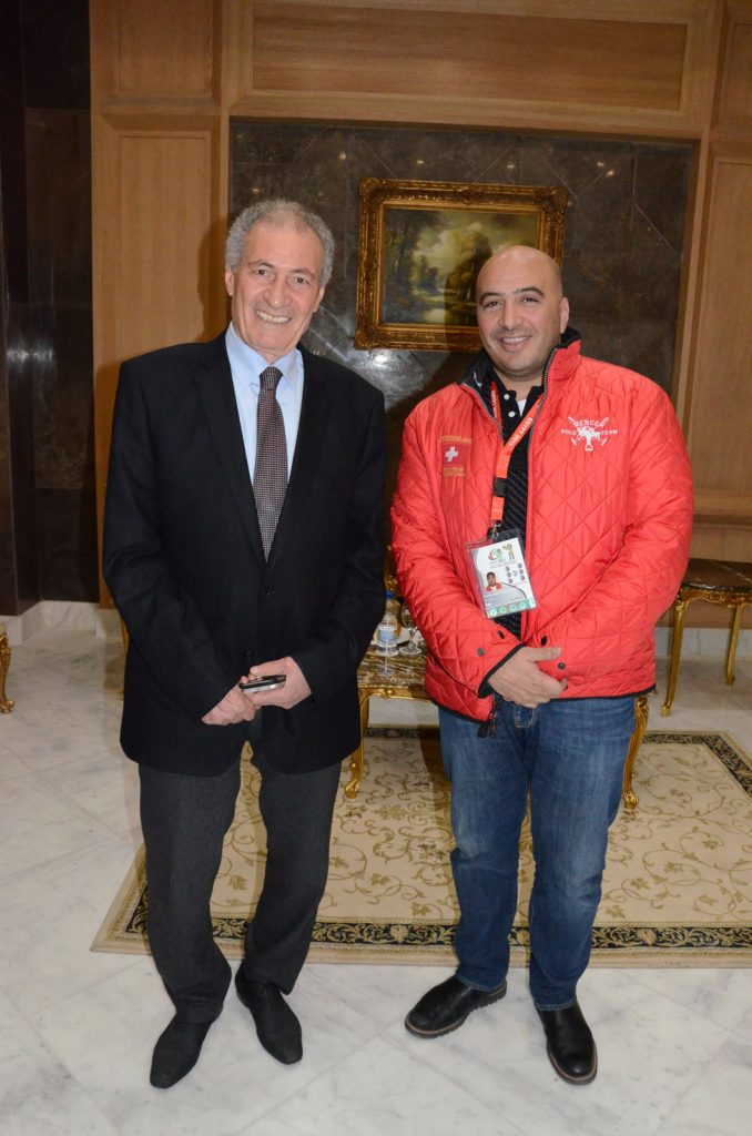 Hassan Mostafa with Magdy El Hawary, director of both the opening and closing ceremonies.